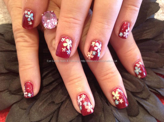 Beautiful spring flowers nail art on red nails mightylinksfo