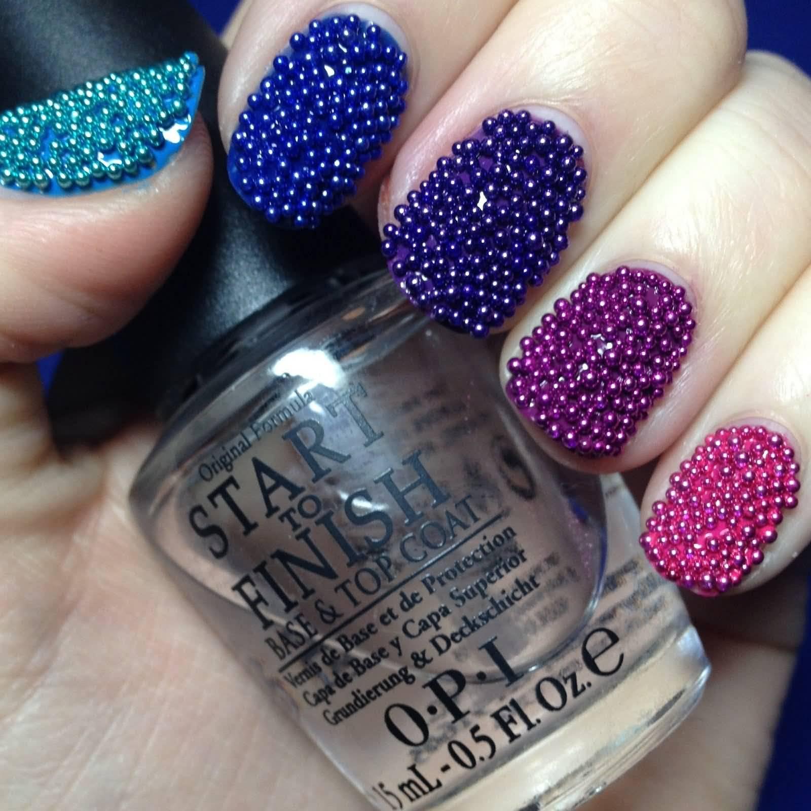 Beautiful Caviar Nail Art Design