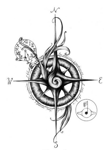 Compass Tattoo Line Drawing : Best compass tattoo design idea