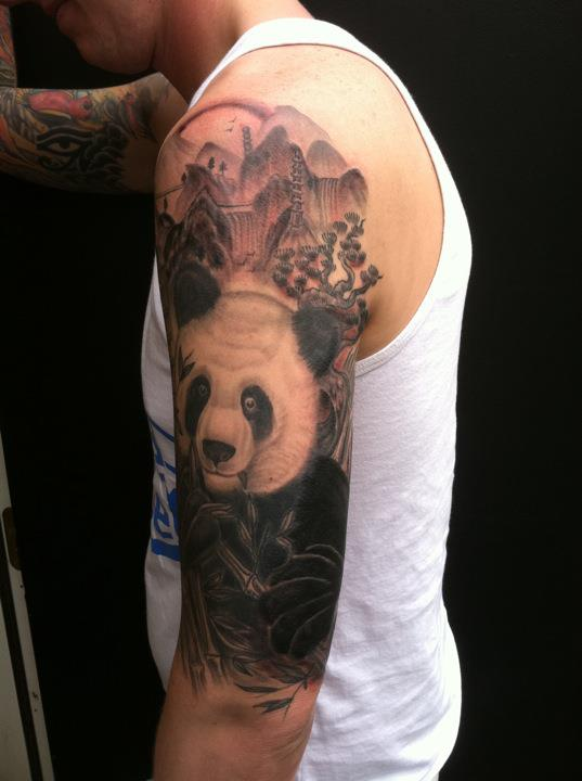f78e601dd Best Forest With Panda Tattoo On Half Sleeve For Boys