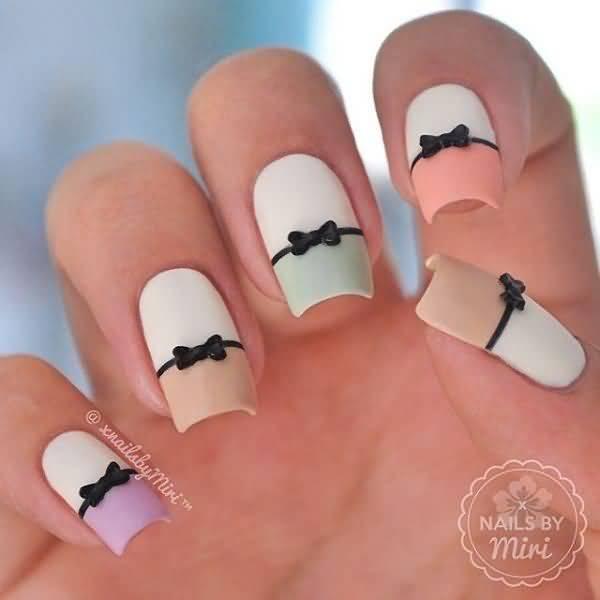 black 3d bows nail art