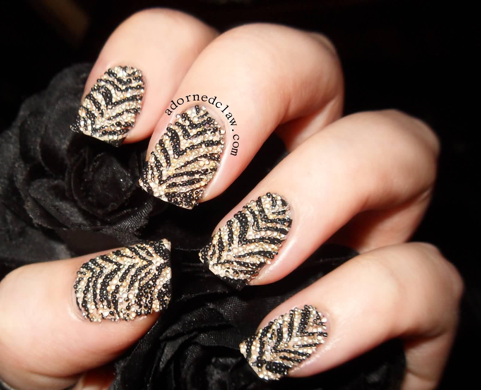 Black And Gold Caviar Design Nail Art