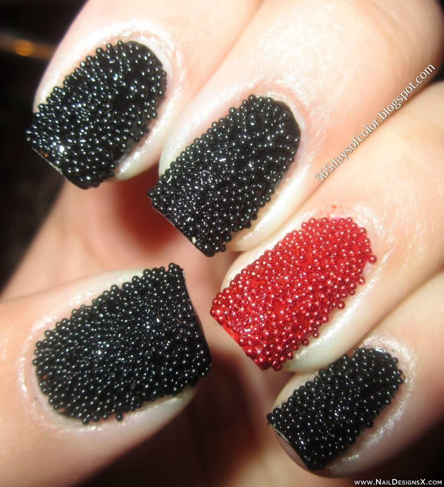 Black And Red Caviar Nail Art Design