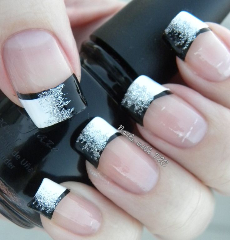 70 very stylish black french tip nail art design ideas black and silver french tip nail art prinsesfo Gallery
