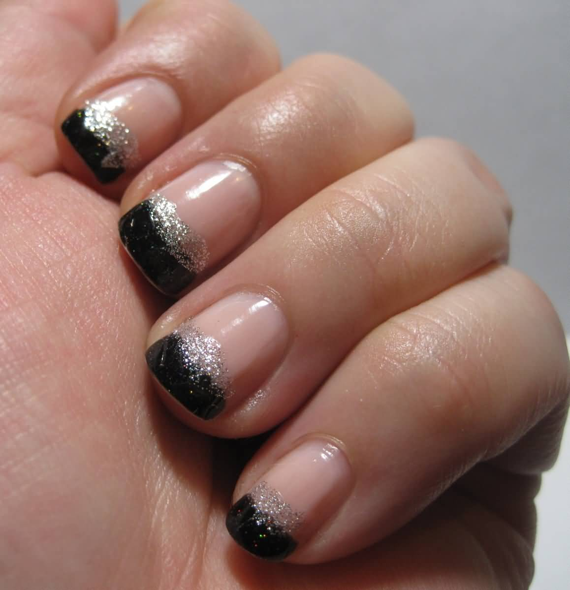 70 very stylish black french tip nail art design ideas black and silver glitter french tip nail design prinsesfo Images
