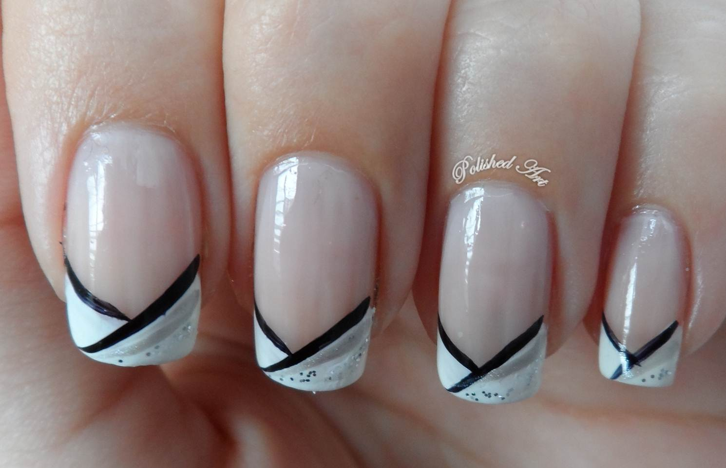Black Nail Art On White Tips: Very stylish black french tip nail art ...