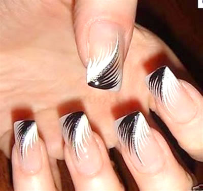 50 latest french tip nail art designs black and white feather french tip nail art prinsesfo Gallery