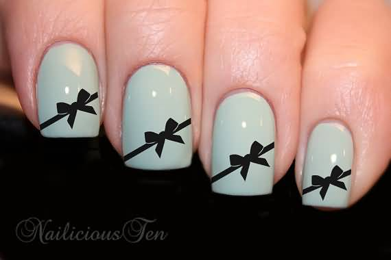 Black Bow Nail Art Design