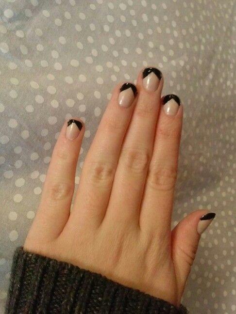 Black Chevron French Tip Nail Art Design