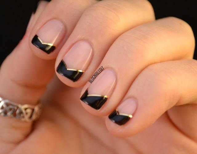 Black Chevron French Tip Nail Art