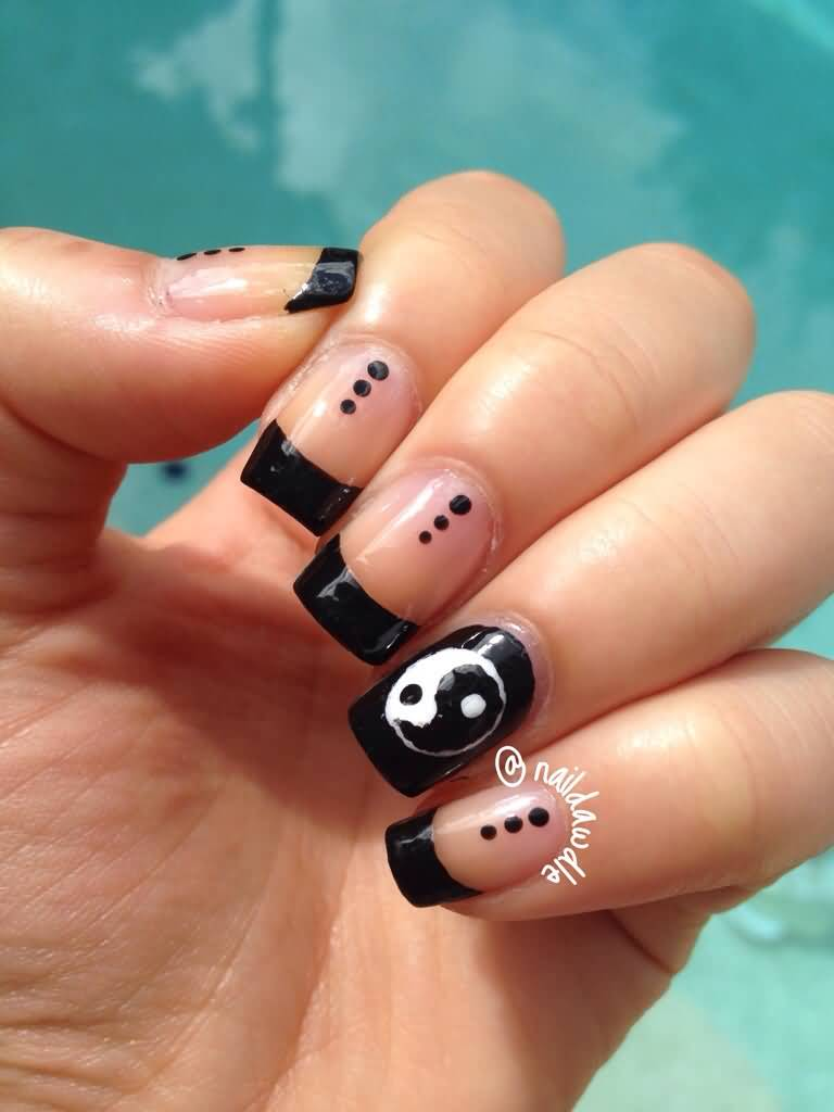 Black French Tip Nail Art With Accent Yin Yang Design