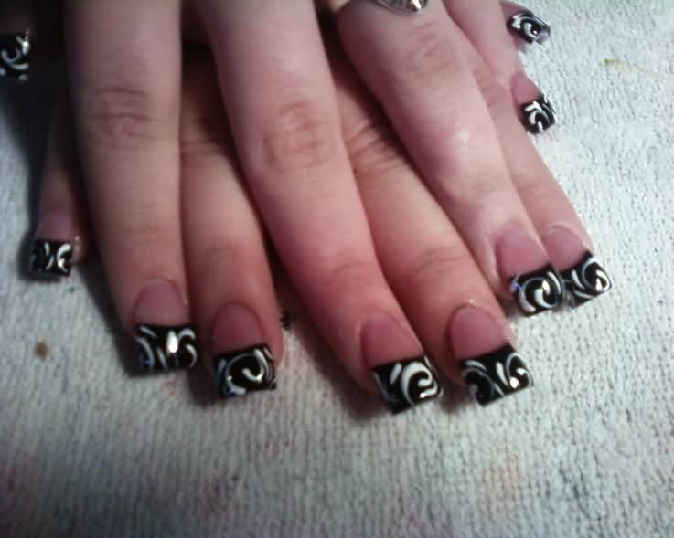 Black French Tip Nail Art With White Design