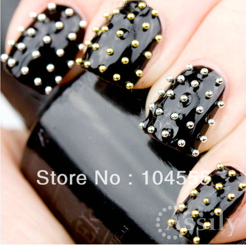 Black Glossy Nails With Metallic Caviar Nail Art