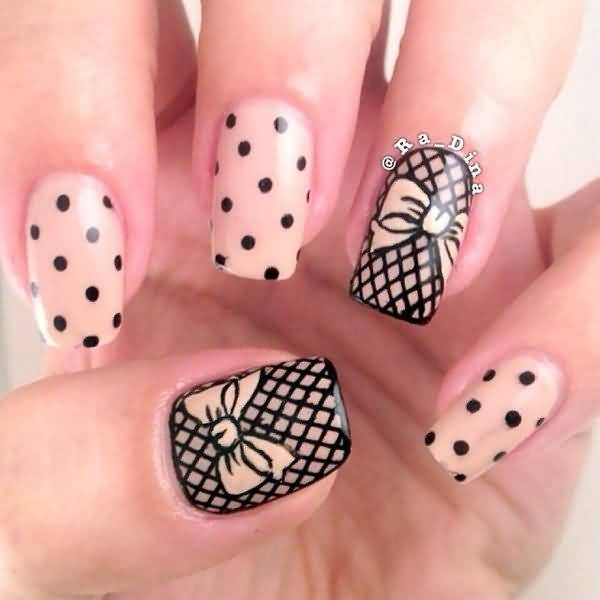 Black Lace Nails With Bows Nail Art