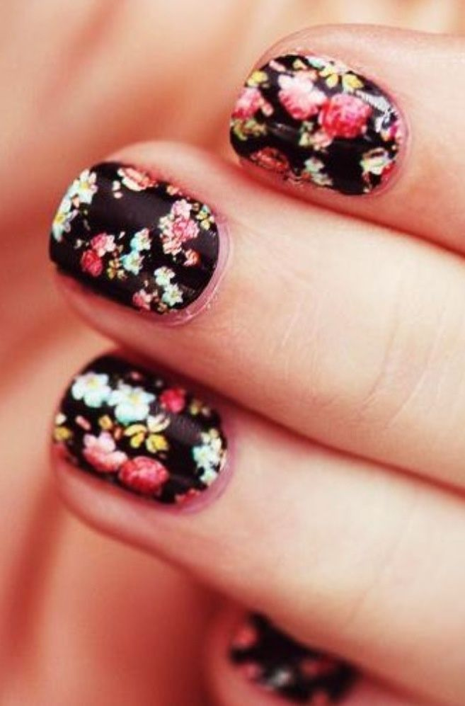 45 very cute flower nail art ideas collection for girls black nails with colorful flowers nail design solutioingenieria Choice Image