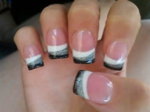 black white and silver french tip nail art french tip nail design ideas 396 - Nail Tip Designs Ideas