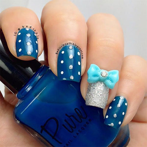 42 beautiful bow nail art design ideas for girls blue 3d bow nail art design prinsesfo Choice Image