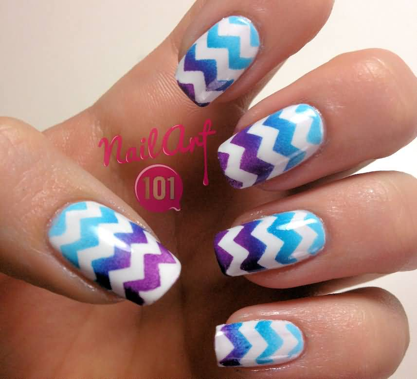 55+ Very Beautiful Chevron Nail Art Design Ideas