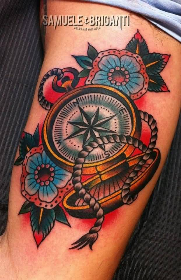 Traditional Compass Tatoo: Black Rose Tattoo On Forearm By Samuele Briganti