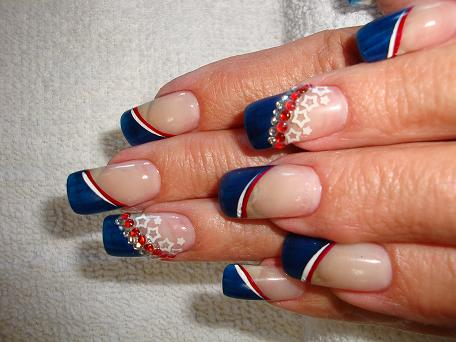 50 adorable fourth of july nail art ideas blue french tip fourth of july nail art prinsesfo Image collections