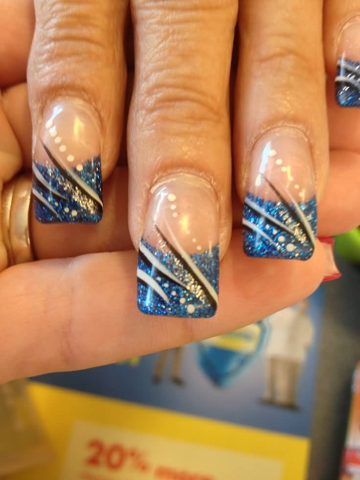 Blue Glitter French Tip Nail Art With Black And White Stripes