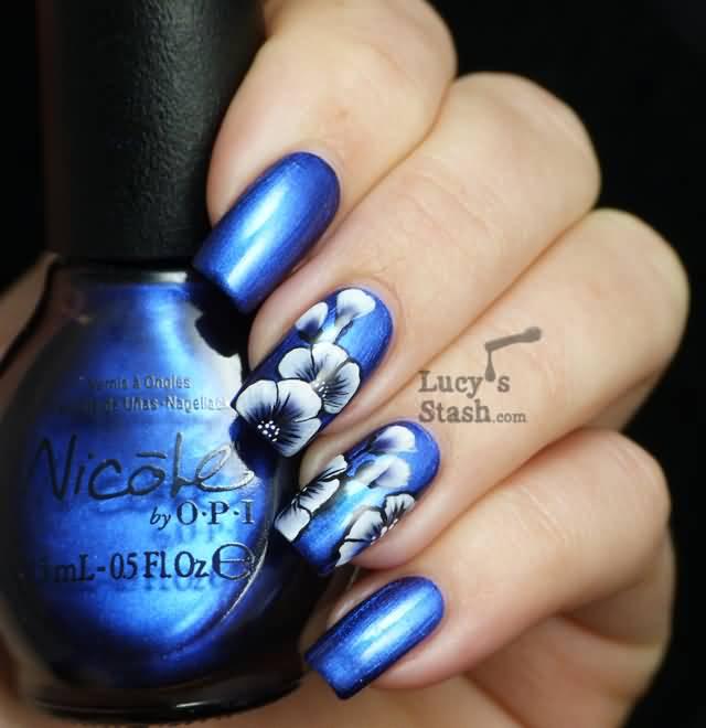 Nail Art Blue Floral: 55+ Most Stylish Flower Nail Art Design Ideas