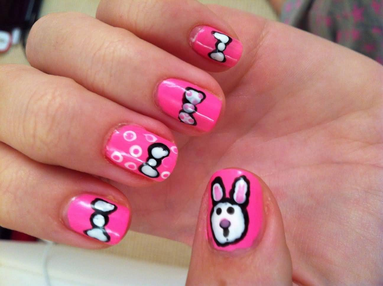 Bunny Face And Simple Bow Nail Art Design