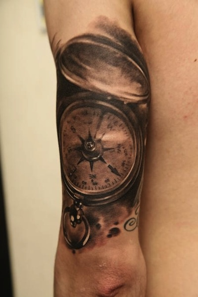Compass Tattoo On Left Half Sleeve by D.Samohin