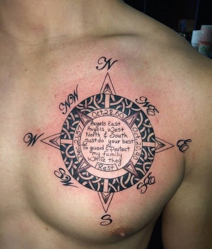 Compass Tattoo On Man Chest