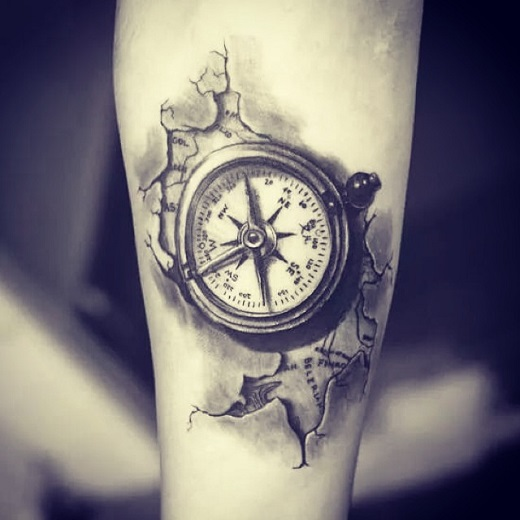 cracked skin compass tattoo on forearm. Black Bedroom Furniture Sets. Home Design Ideas
