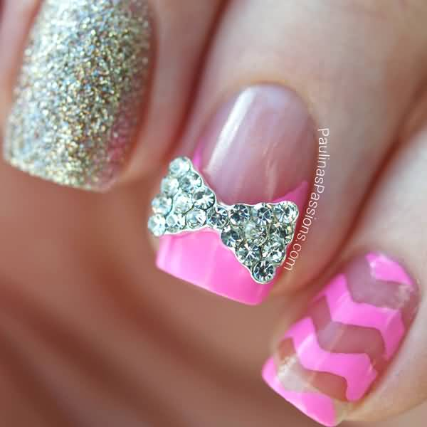 25+ Most Beautiful Pink Chevron Nail Art Design Ideas
