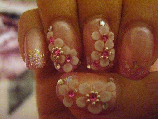 51 very beautiful 3d flowers nail art designs cute 3d flower nail art with rhinestones prinsesfo Gallery