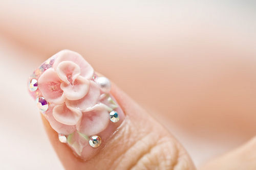 51 very beautiful 3d flowers nail art designs cute 3d flowers with rhinestones nail art prinsesfo Gallery