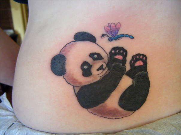 Cute baby panda playing with butterfly tattoo on lower back for Cute baby tattoos
