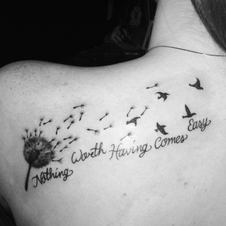 40 Nice Dandelion Birds Tattoos