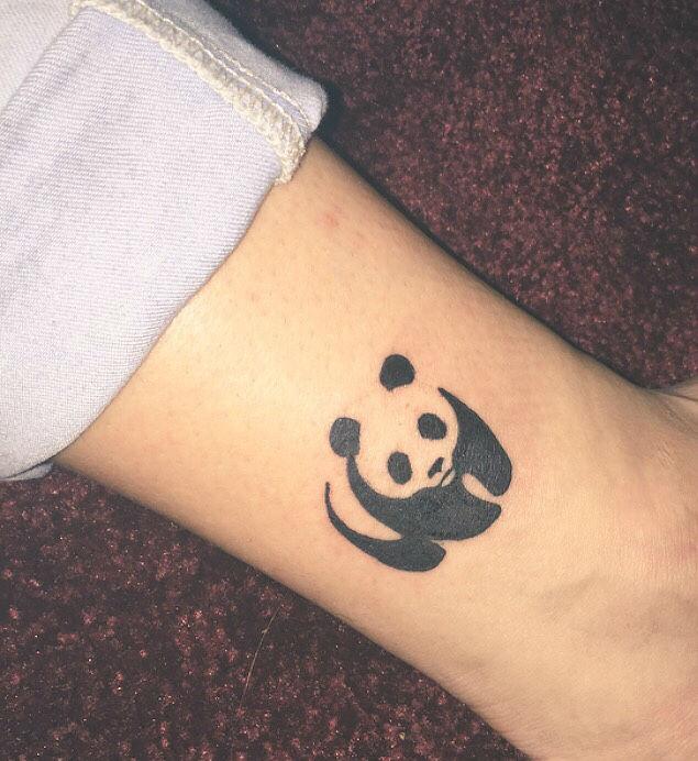 Cute black ink panda tattoo on ankle for Baby panda tattoo