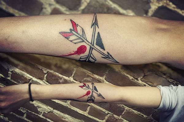 48 arrow tattoos on arm for Crossed arrow tattoo