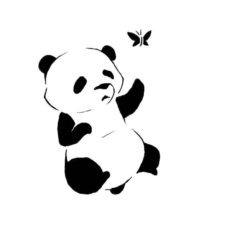 Cute Tribal Panda Cub With Butterfly Tattoo DesignBy Lieusum