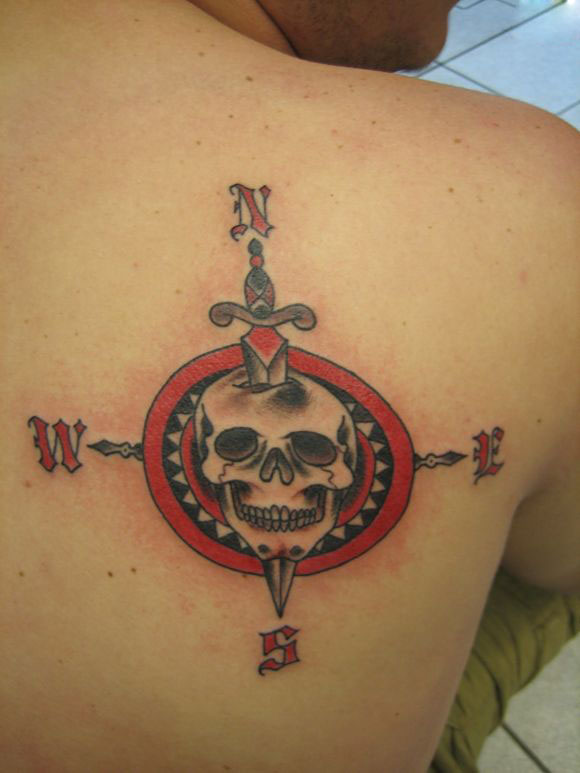 Dagger skull compass tattoo on right back shoulder for Compass shoulder tattoo
