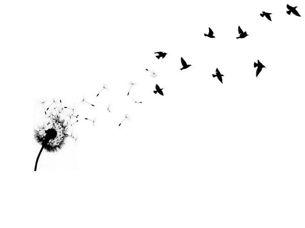 40 nice dandelion birds tattoos. Black Bedroom Furniture Sets. Home Design Ideas