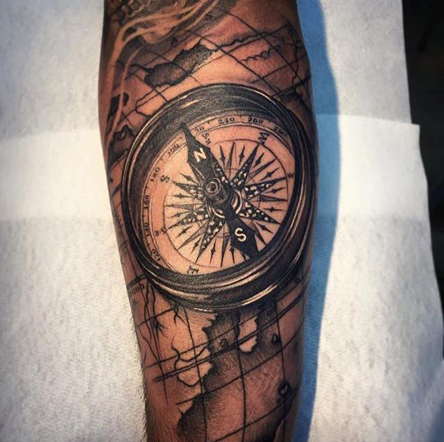 Dark Ink Compass Tattoo On Arm By Andy Blanco