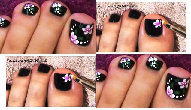 50 most beautiful and stylish flower toe nail art design ideas dark toe nails with pink flower nail art tutorial prinsesfo Choice Image