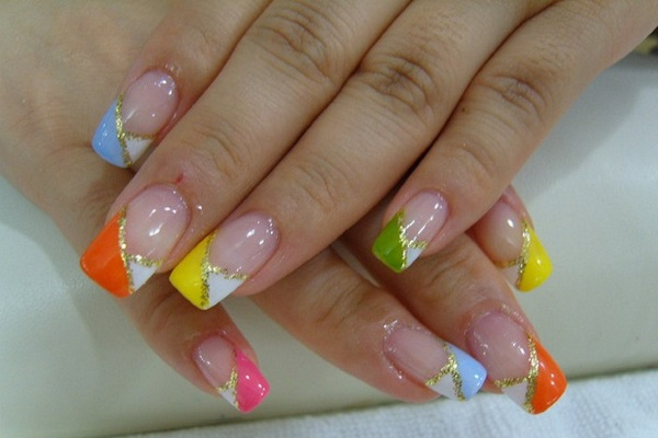 Diagonal Colorful French Tip Nail Art Design