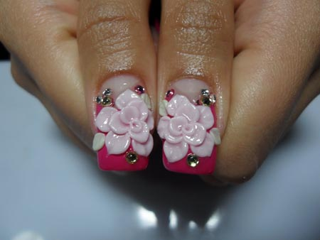 Elegant 3d Acrylic Rose Flower Nail Art