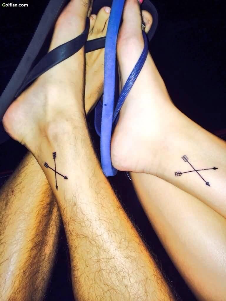 5a405a67e Fabulous Cross Arrows Tattoo On Two Foots