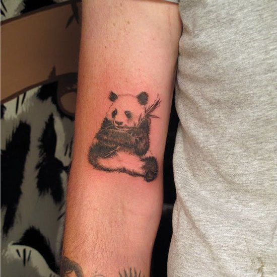 Fantastic Small Panda With Bamboo Tattoo On Bicep