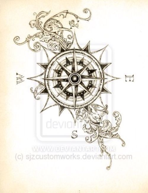 Gallery For gt Compass Tattoo Design