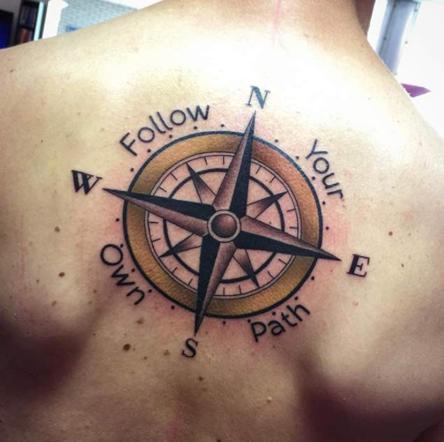 Follow Your Own Path Compass Tattoo On Upper Back