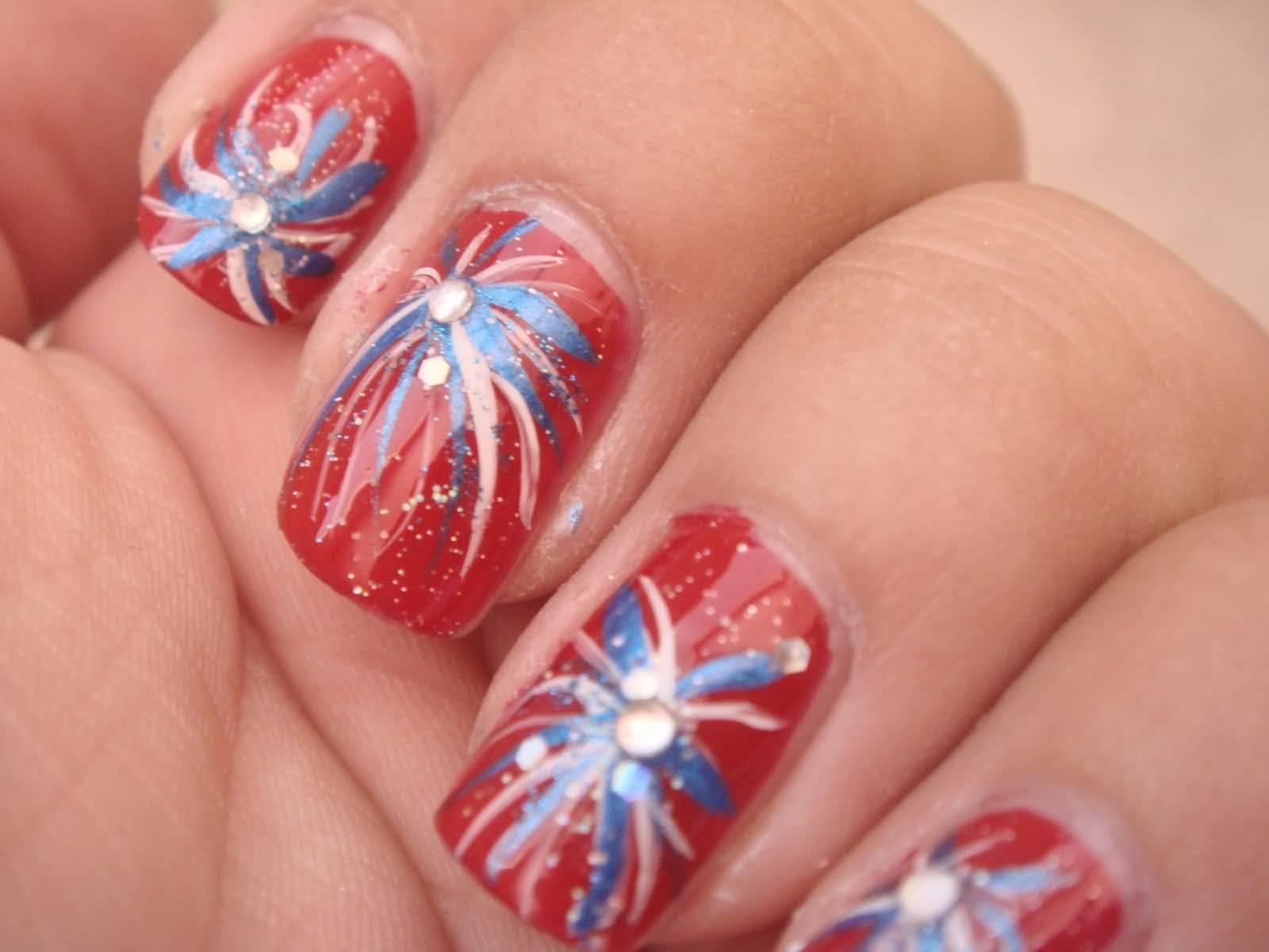 25 very beautiful fourth of july fireworks nail art designs fourth of july fireworks nail art with rhinestones prinsesfo Gallery