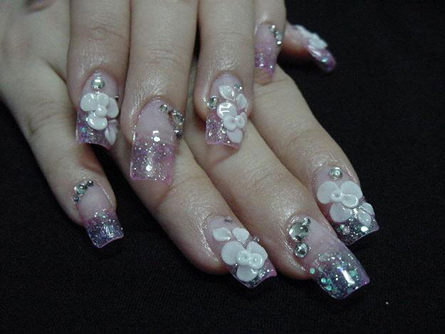 Glitter gel french tip nails with white 3d flower nail art mightylinksfo
